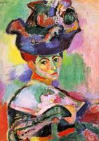 Portrait d'une femme peint par Matisse. La femme porte un énorme chapeau multicolore très décoré, composés de formes qui rappellent certains fruits ou légumes.